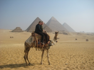 My sister and me at the Pyramids of Giza, Cairo, Egypt.