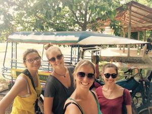 Having fun with fellow travellers in Thakhek, Laos